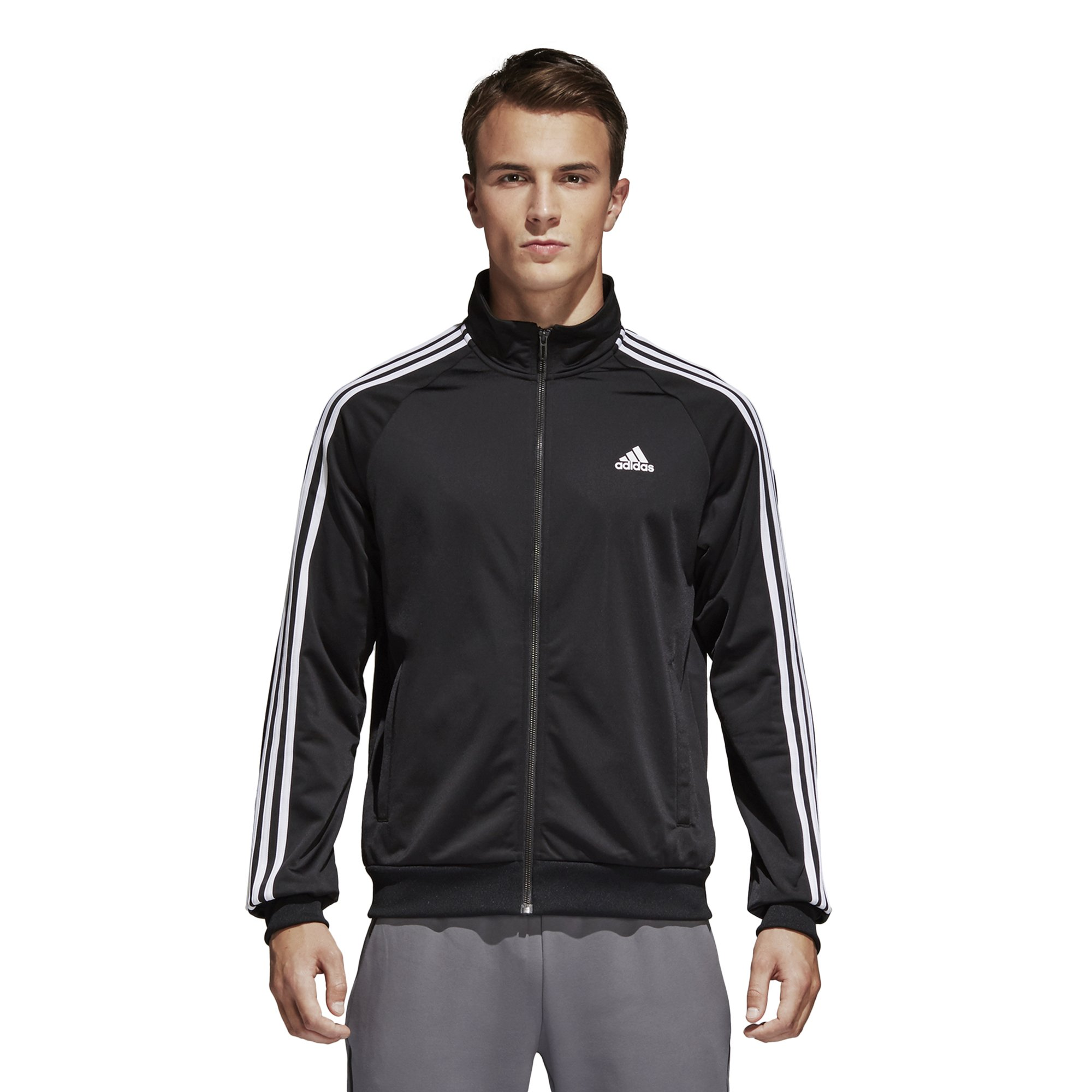 adidas Men's Essentials 3-Stripe Tricot Track Jacket, Black/White, Large