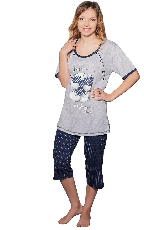 Trousers Pajamas Nightwear Nursing Pajamas Nitis Umstandsmode Nursing Pyjama Teddy 2 in 1 Maternity Sleep Shirt
