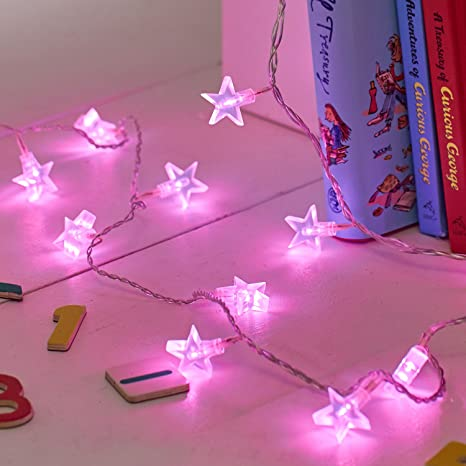 Lights4fun Indoor Star Fairy Lights with 30 Pink LEDs