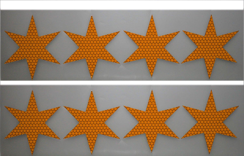UvV-Shop Stern Sticker Aufkleber, 8 Stück je 80 mm Unfälle vermeiden vorbeugen Schutz & Sicherheit in der Dunkelheit (blau) ES-Team Consult GmbH