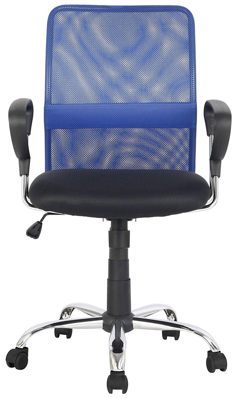 La Silla Española Salamanca Oficina sin Reposacabezas, Piel_sintética, Azul, 51.50x113x63.50 cm