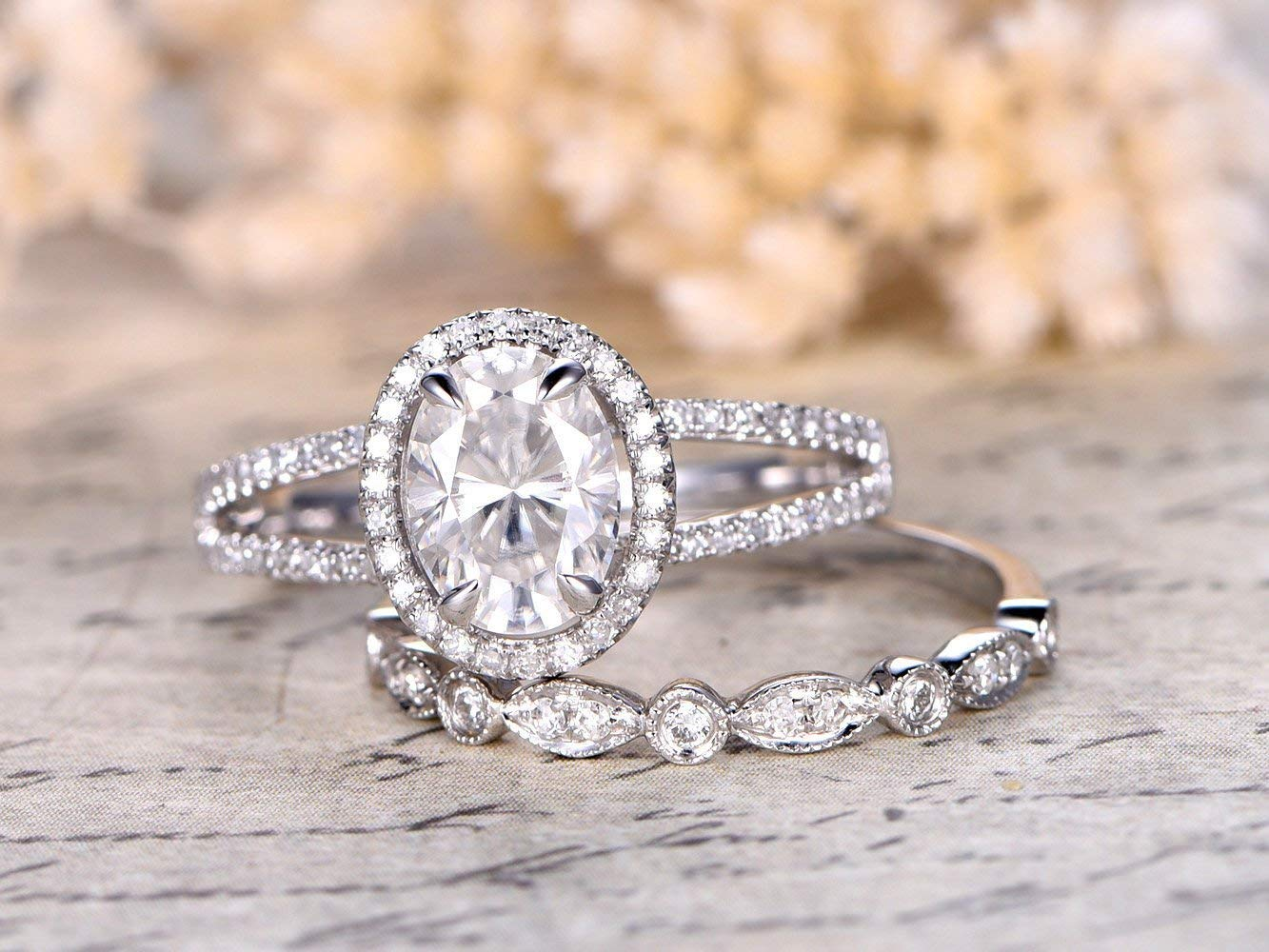 Bridal Ring 18K Solid Rose Gold Ring 1.5ct Moissanite Engagement Ring Oval Diamond Ring Anniversary Ring Oval Engagement Ring