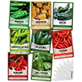 Pepper Seeds for Planting 8 Varieties Pack, Jalapeno, Habanero, Bell Pepper, Cayenne, Hungarian Hot Wax, Anaheim, Serrano, An