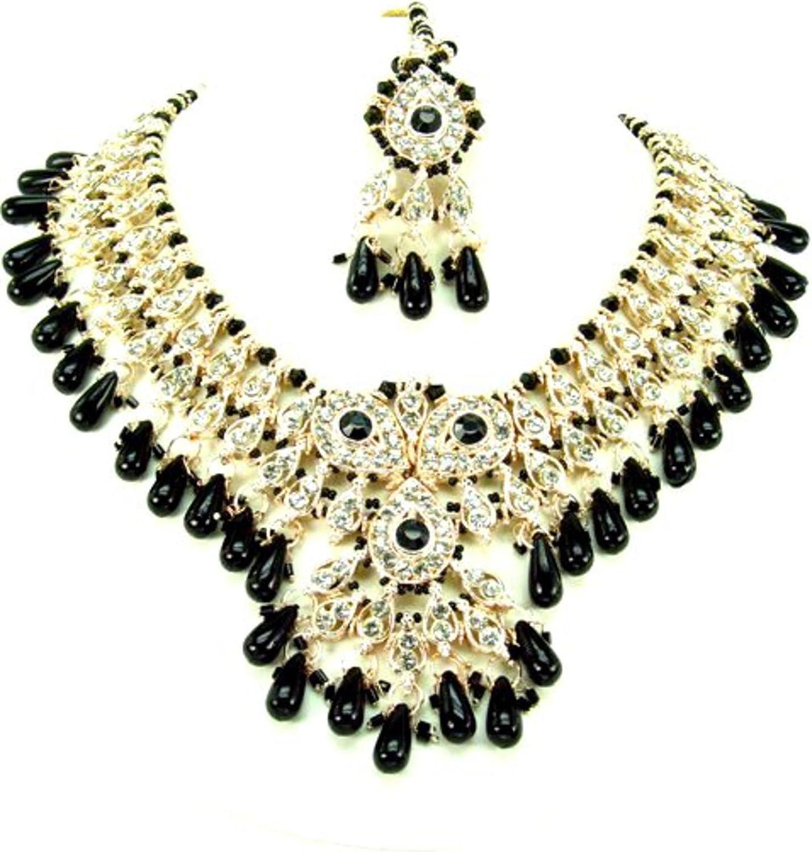 AZBWBR014-GBK Arras Creations Fashion Trendy Bollywood Style Indian Imitation Necklace Set for Women