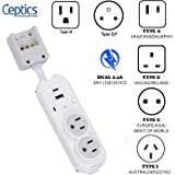 Safest Travel Power Strip W/Adapter Plug Set - Equipped with USB, Type C for iPhone, Chargers, Cell Phones, Laptop - Plugs for Europe, Asia, China, USA, Africa, South America