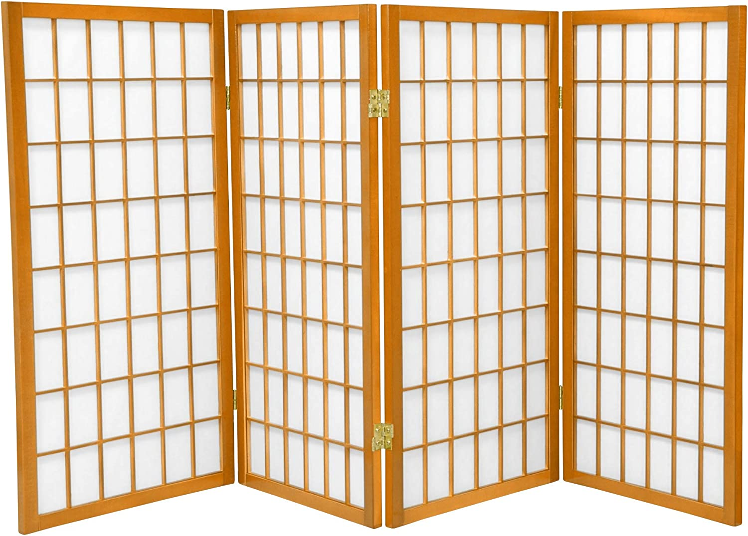 Oriental Furniture 3 ft. Tall Window Pane Shoji Screen - Honey - 4 Panels