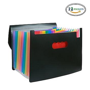 Carpeta archivadora expandible con 12 bolsillos con tapa, tamaño A4, organizador de archivos,