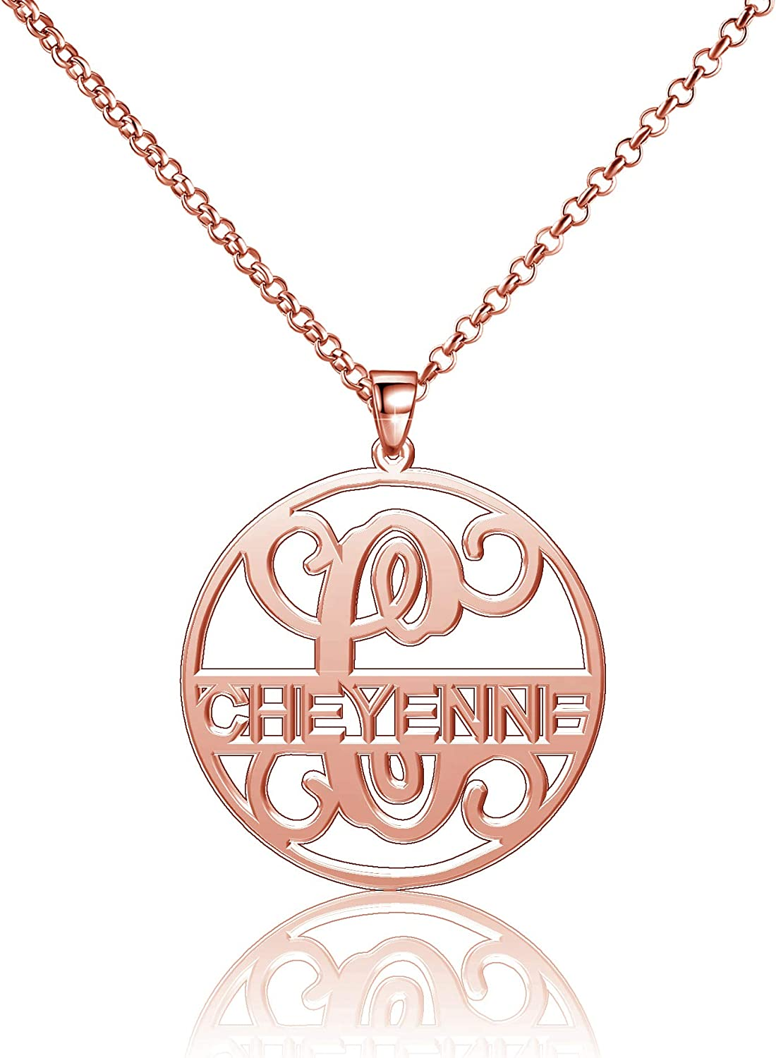 Moonlight Collections Cheyenne Necklace Silver 925 Pendants Personalized Monogrammed Name Plates