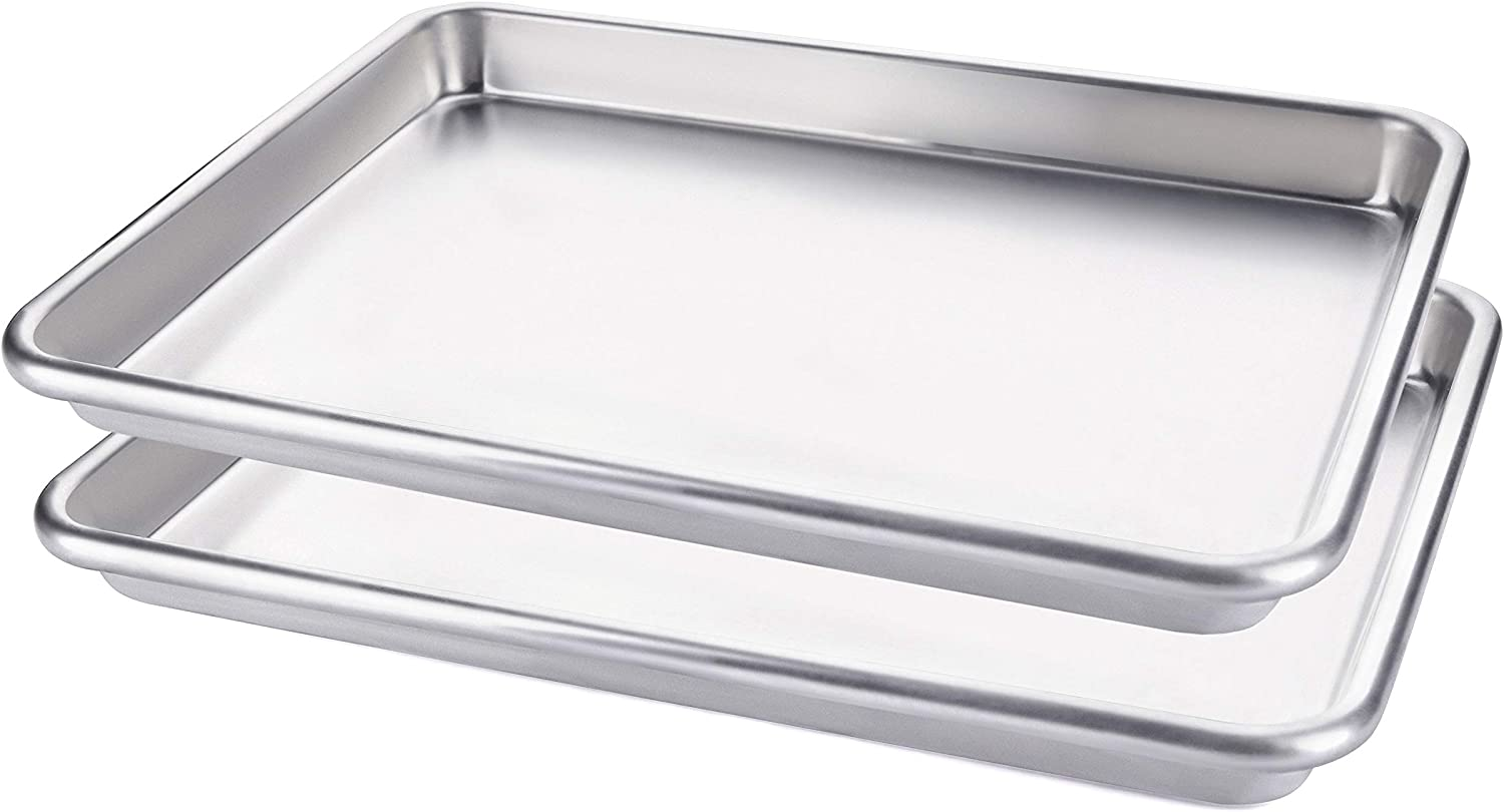Two (2X) Quarter Sheet Baking Pan for Cookies, Vegetables, and Cakes, Commercial Quality Aluminum Cookie Pan Tray for Roasting and Baking, 13 x 9 x 1 Inch.