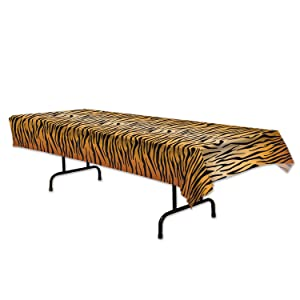 "Beistle 54063 Tiger Print Table Cover, 54"" x 108"", Orange/Tan/Black"