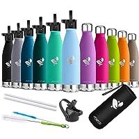 AORIN Waterfles,350/500/750 ML,Everyday Drinkfles BPA-Vrij,Houdt 24+ uur koud, 12 uur warm,Ideale Sportbeker voor…