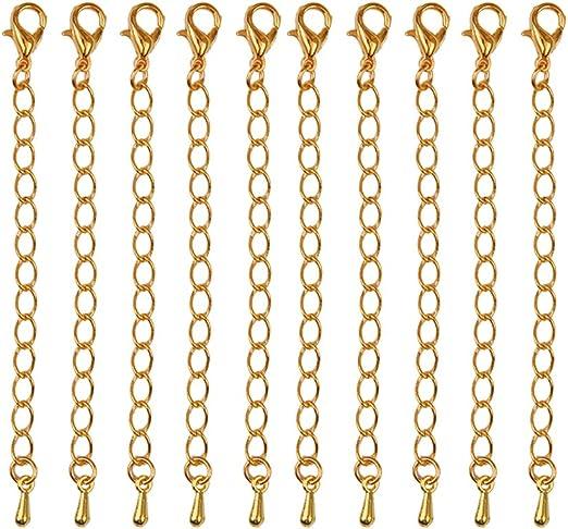 IPOTCH 20 Pi/èces Cha/înette d/'Extension avec Fermoir pour Collier Bracelet Or 70mm Argent