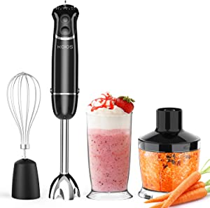KOIOS Hand Blender Immersion for Kitchen with Chopper Bowl 500ml, Mixing Beaker 600ml, and Whisk, 800 Watt 12 Speed Electric Hand Blender Set, 2 Years Warranty