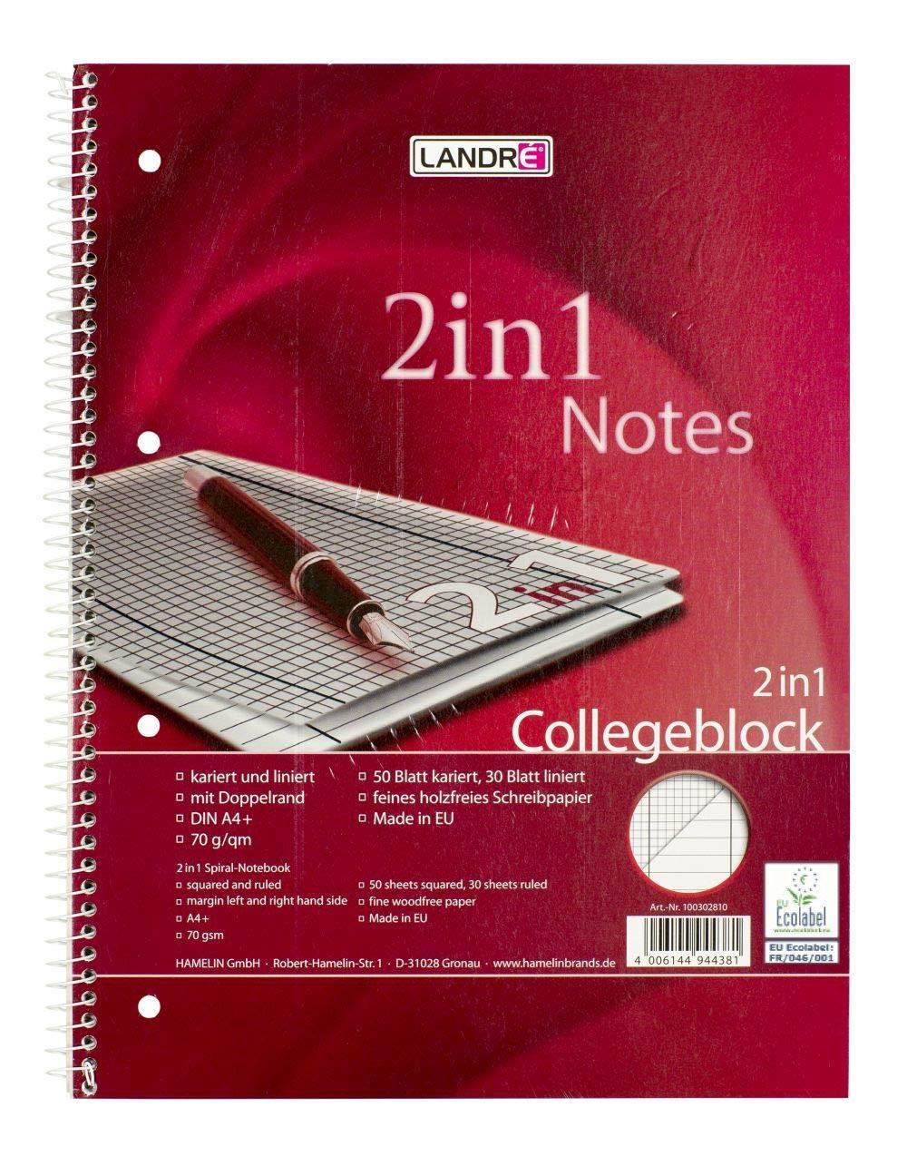 LANDRE 100302810 Collegeblock 2 in 1 10er Pack linirt und kariert Rand links A4 80 Blatt 70 g/m² gelocht Hamelin GmbH