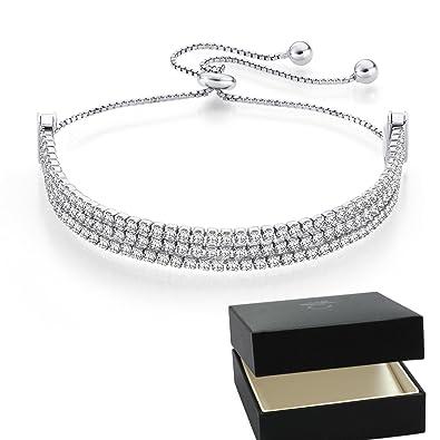 Damen Armband Echt Sterling Silber 925 Armkette Kreis Ring Rosegold Zirkonia