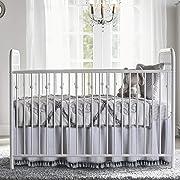 Grey Crib Skirt Dust Ruffle Baby Bed Skirt with Tassel Trim Nursery Crib Bedding Skirt for Baby Boys and Girls,15 Drop