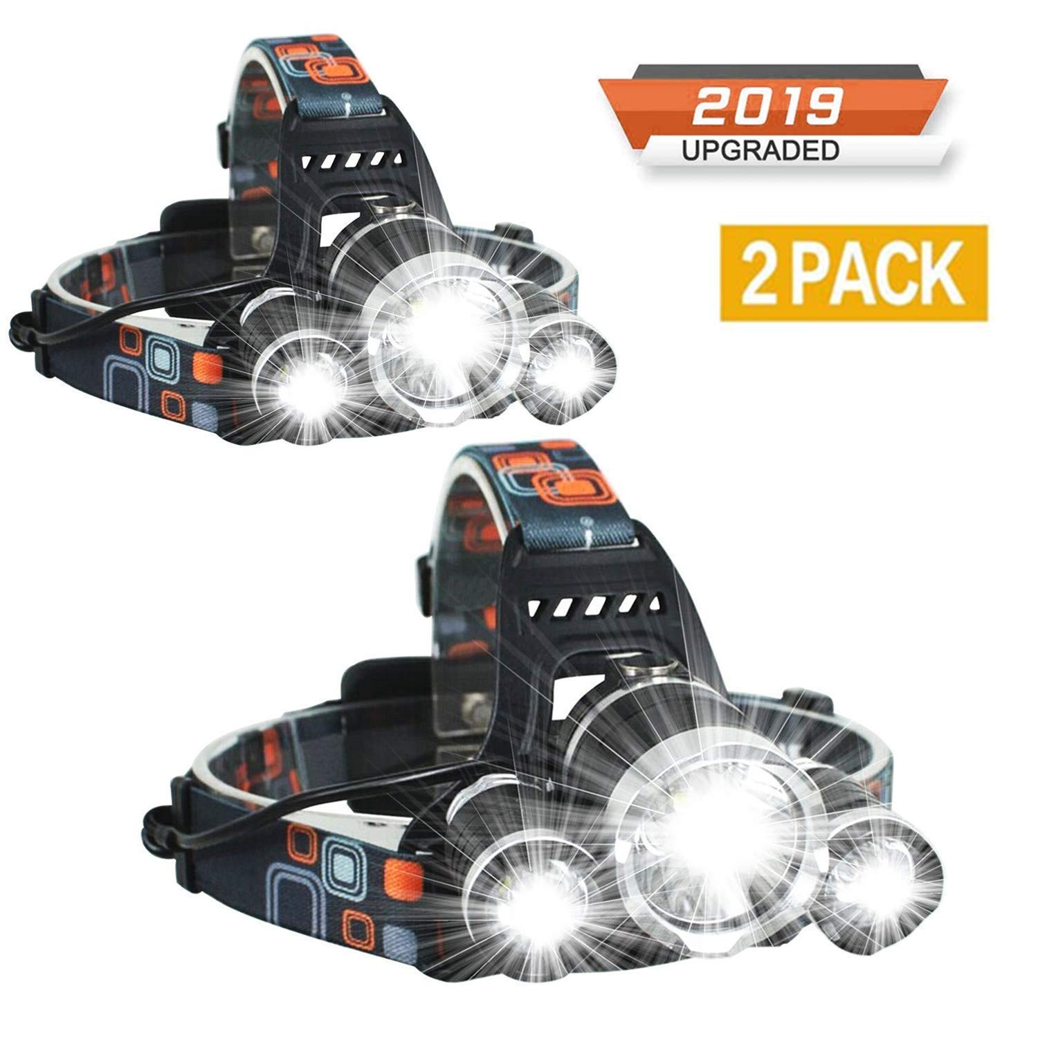 Newest Headlamp Flashlight 10000 Lumen,Best IMPROVED LED with Rechargeable Battery, Bright Head Lights,Waterproof Hard Hat Light,Fishing Head Lamp,Hunting headlamp,Camping headlamp (2Pack Headlamp) by Molo