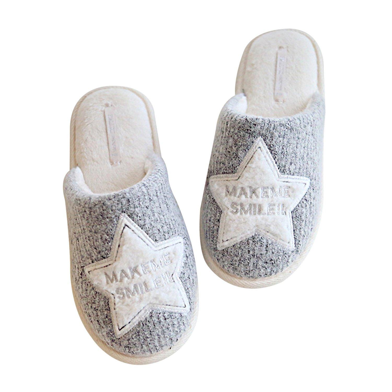 Sasairy Donne Pantofole Antiscivolo Impermeabile Pantofole Di Cotone Morbido Ciabatte da Donna per Autunno Inverno in Casa UfficioGrigio
