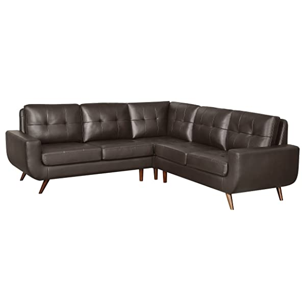 "Homelegance Deryn 96"" x 96"" Sectional Sofa with Tufted Back, Brown Leather Gel Match"