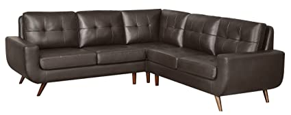 Stupendous Homelegance Deryn Sectional Leather Sofa With Tufted Back Brown 96 X 96 Bralicious Painted Fabric Chair Ideas Braliciousco