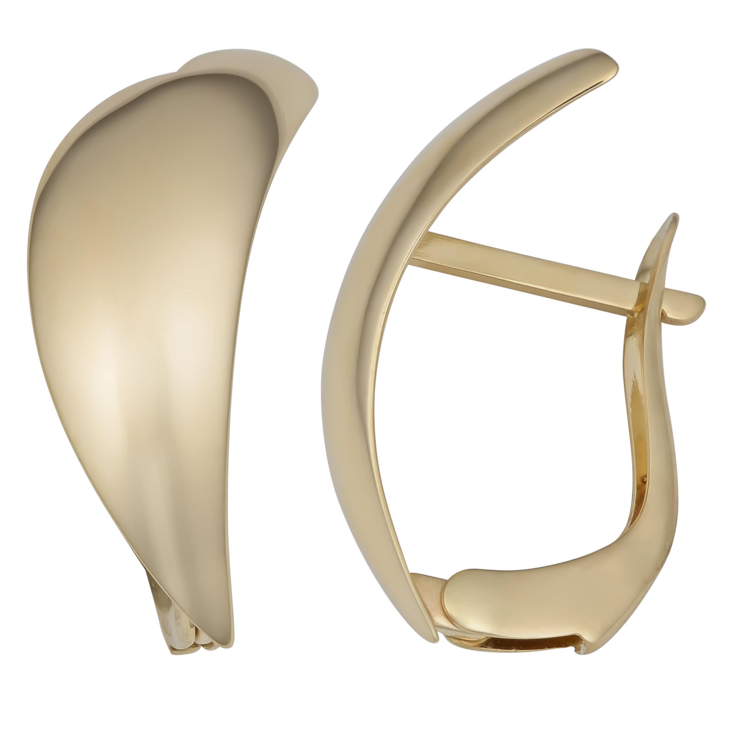 14k Yellow Gold Stylish Omega Back Earrings by Kooljewelry