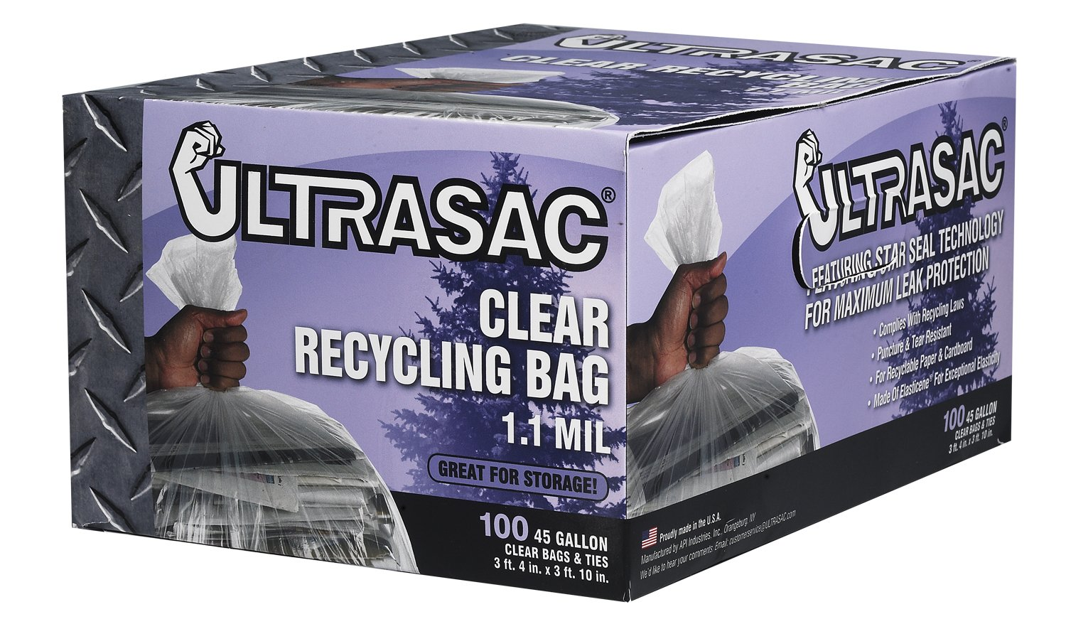 Clear Recycling Bags by Ultrasac - Heavy Duty 45 Gallon Garbage Bags (HUGE 100 Pack w/ties) - 46' x 40' - Industrial Quality Clear Trash Bags for Paper, Plastic, Cans, Bottles, Newspaper, Grass, Lawn