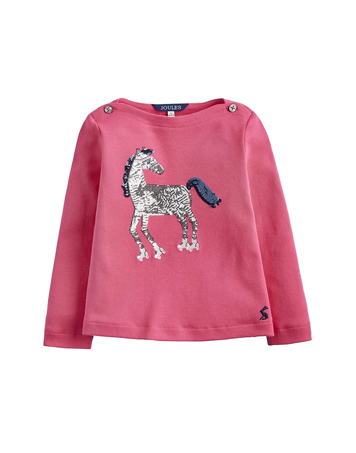 Joules Long Sleeve Graphic Sequin Top - Deep Pink Roller Horse