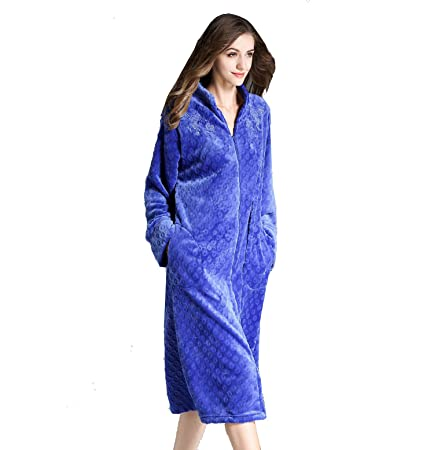65fd72a069 XZ Dressing Gown Women Bathrobes Robe Terry Towelling Soft Fleece Pyjama  Nightwear With Zipper And Embroidered