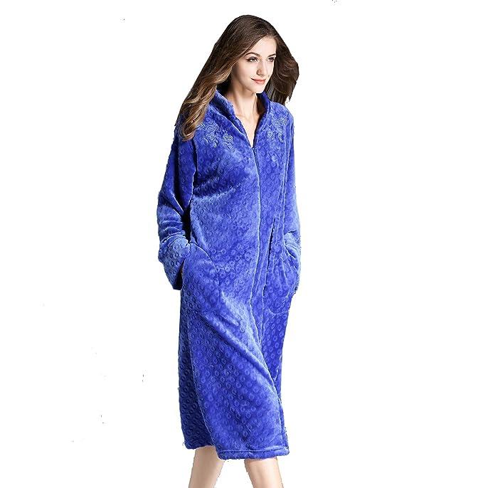 Albornoces Albornoz de Baño para Mujer Batas de Dormir Suave Franela Microfibra Ropa de Casa,