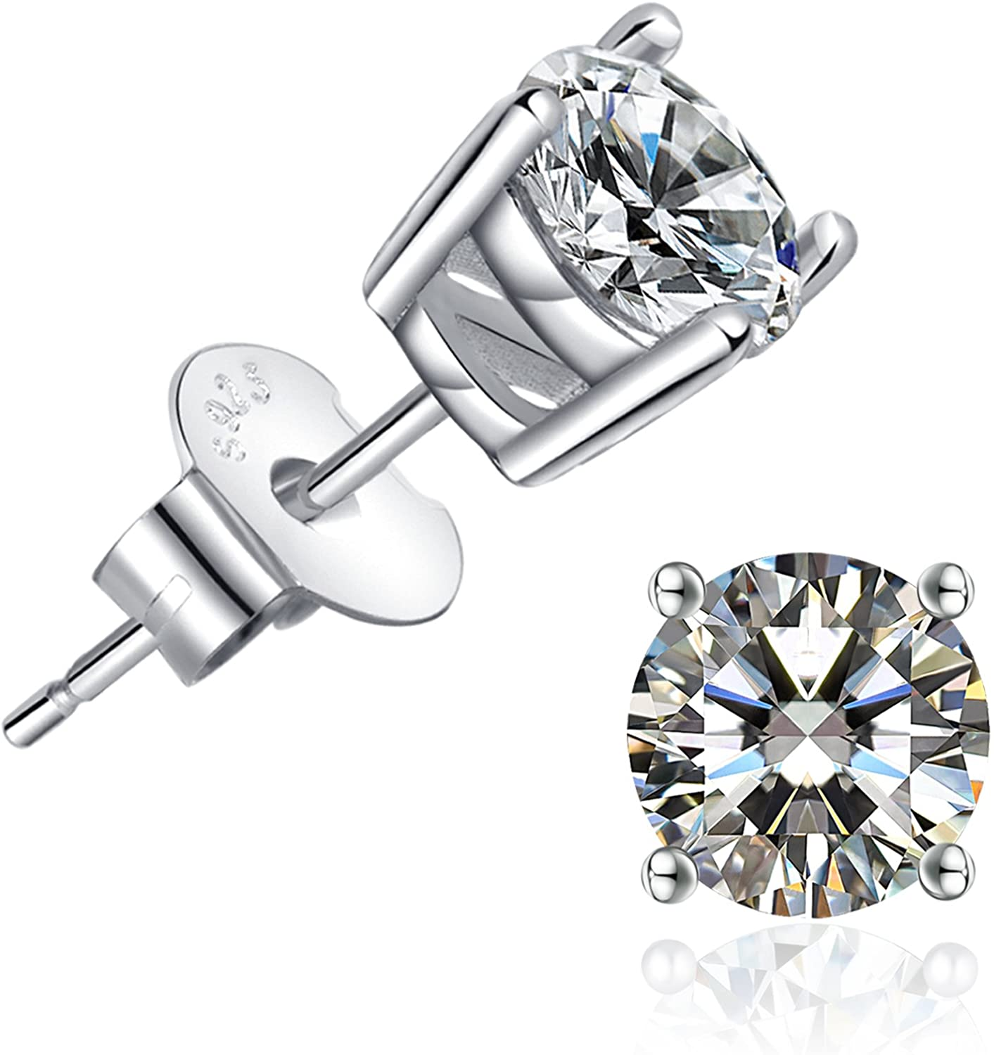Round 7mm Aaa White Cubic Zirconia White Gold Plate 925 Sterling Silver Earrings