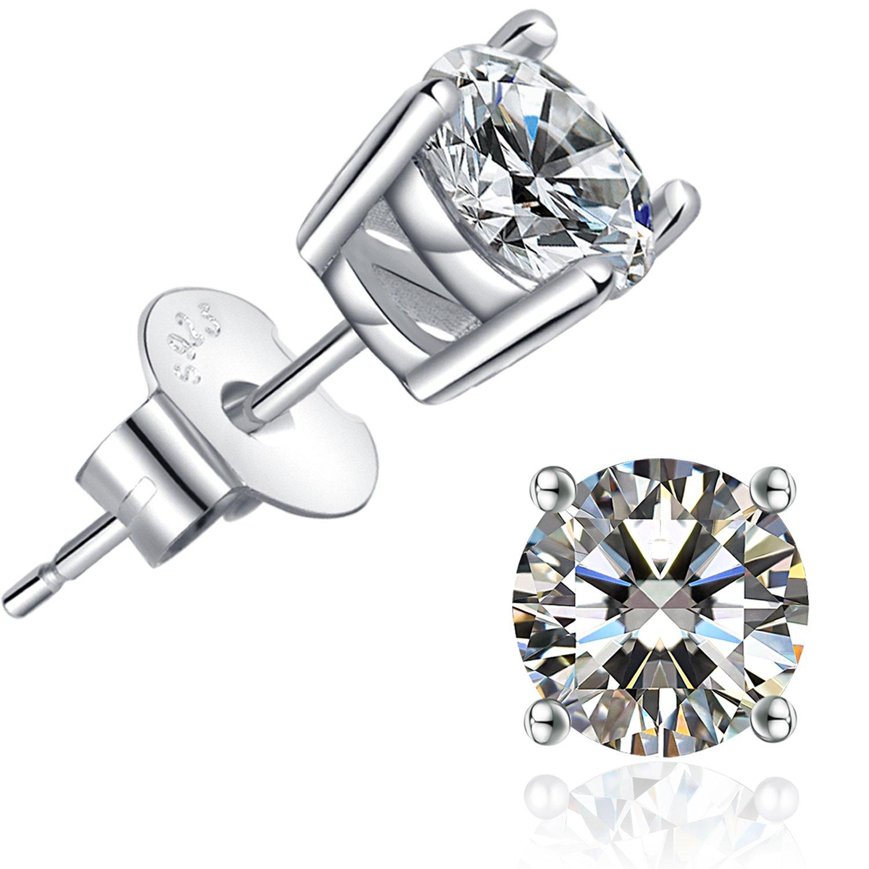 Brilliant Cut CZ Stud Earrings – 18K White Gold Plated Stud Earrings For Women Men Ear Piercing Earrings Cubic Zirconia Inlaid,4mm,5mm,6mm,7mm Available