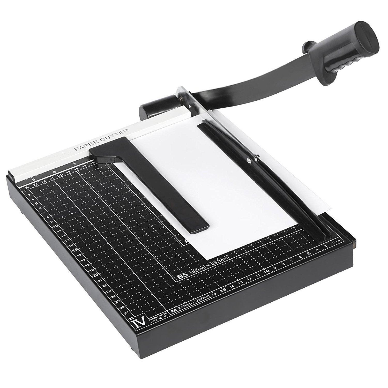 Paper Cutter 12 Inch, Guillotine Trimmer Black, 10 Sheet Capacity for Home Office, Automatic Clamp, Sturdy Plastic Base Rateim