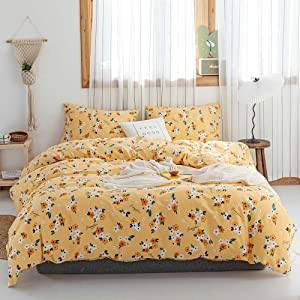 Floral Duvet Cover Yellow Queen Bedding Set Girl Flower Comforter Cover 3 Piece Cotton Duvet Cover Set Garden Style Plant Flowers Duvet Cover Queen Chic Floral Bedding Collection