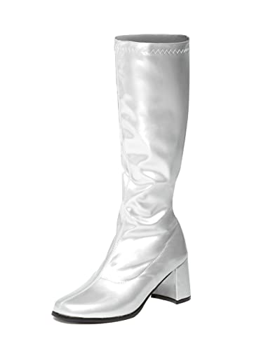 c5f68bd829044 Silver Knee High Go Go Boots - Sizes 3 UK to 11 UK