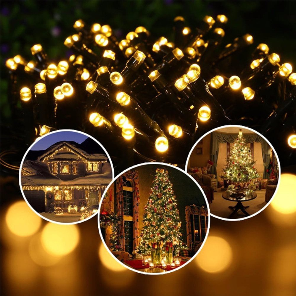 White Solar String Lights Outdoor 100 LED Garden String Lights for Christmas 10M//33ft 8 Mode Waterproof Ambiance Lighting for Outside,Yard,Holiday Party,Wedding,Xmas,Tree,Home /& Festival Decoration