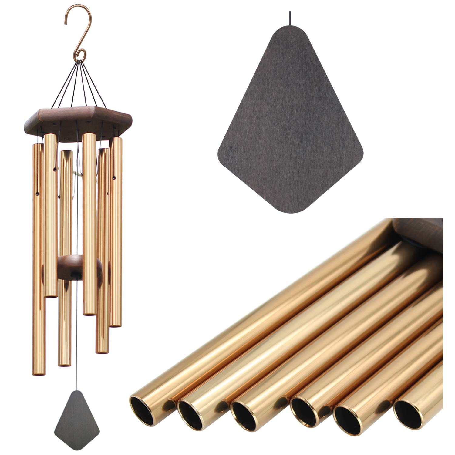 Wind Chimes Outdoor Large Deep Tone, Memorial Personalized Wind Chimes 6 Long Metal Tubes, Sympathy Wind Chime Amazing Grace Sound, Perfect Garden, Patio Yard(30'' Bronze)