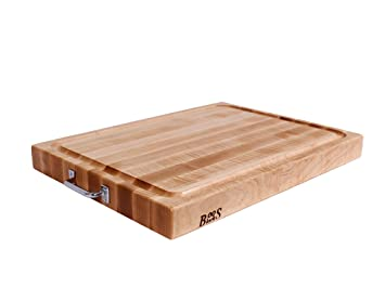 John Boos Reversible Maple Edge Grain Cutting Board With Juice Groove And  Chrome Handles, 24