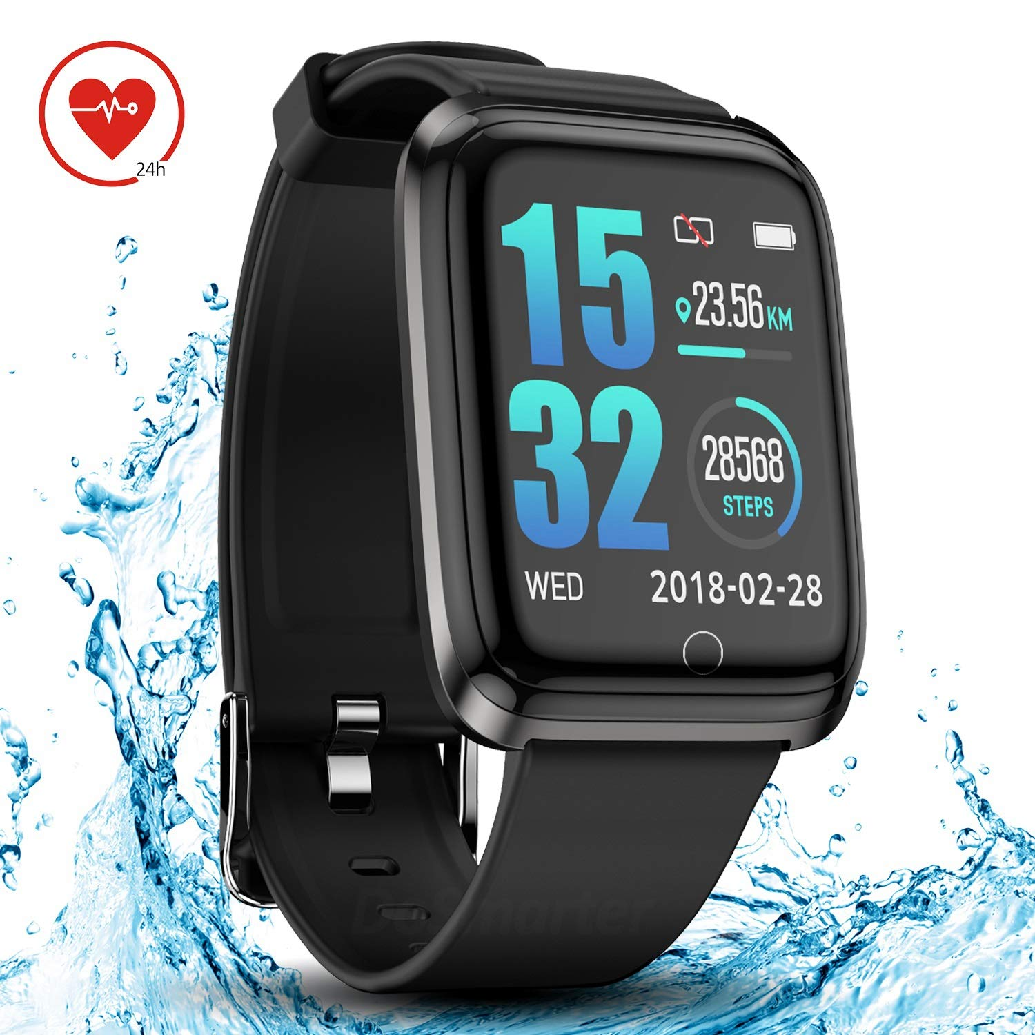 DoSmarter Smart Watch IP68 Waterproof GPS Running Fitness Activity Tracker Watch with 1.3 Inches Color Screen, Bluetooth Heart Rate Monitor Smart Wrist Watches with Sleep Tracker for Woman Man Kids by DoSmarter