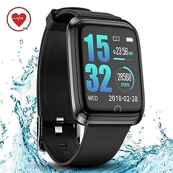 DoSmarter Smartwatch con Pulsómetro, IP68 Impermeable Reloj Inteligente Deportivo con Cronómetro Podómetro Monitor de Calorías y Sueño para Android y ...