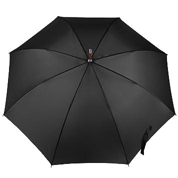 f1c3d7e53d5f Totes Auto Open Wooden Handle J Stick Umbrella, Black