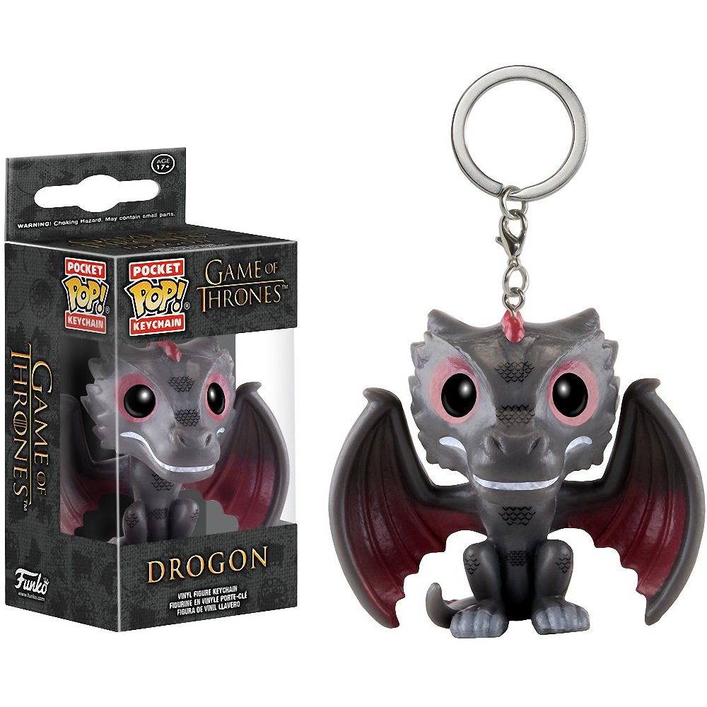 1 FREE Official Game of Thrones Trading Card Bundle 101110 x Game of Thrones Mini-Figure Keychain Drogon: Pocket POP