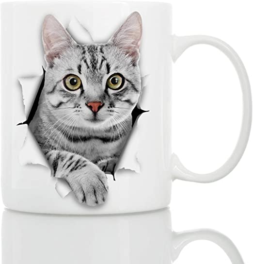 Amazon.com: Taza de café de cerámica con diseño de gato gris ...
