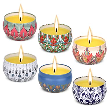 Angium Citronella Scented Candles Set 6 Natural Soy Wax Travel Tin 2.5oz, Outdoor and Indoor