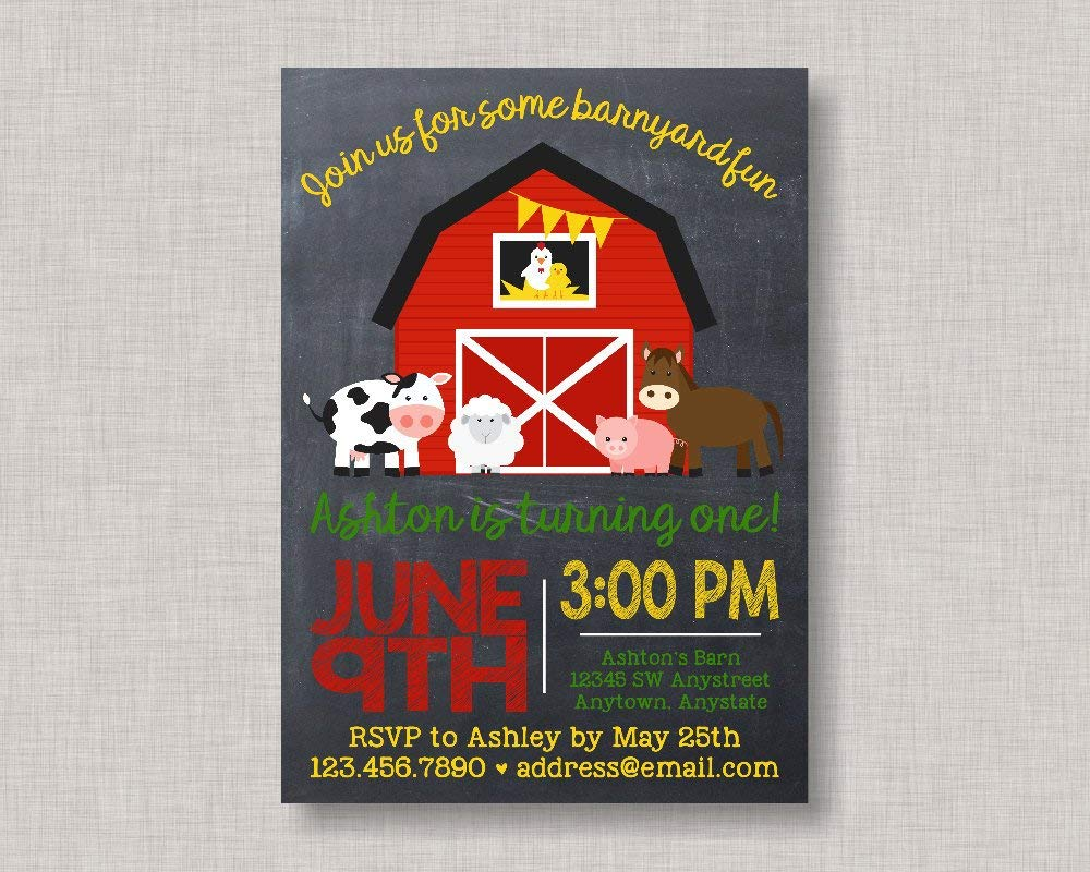 Amazon Olga212Patrick Farm Invitation Birthday Barnyard Party Bash Chalkboard 1st 2nd