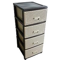 Kaiser-Handel Schubladenschrank Rollcontainer in Rattan-Optik aus Kunststoff 4 Schubladen Schrank Stecksystem