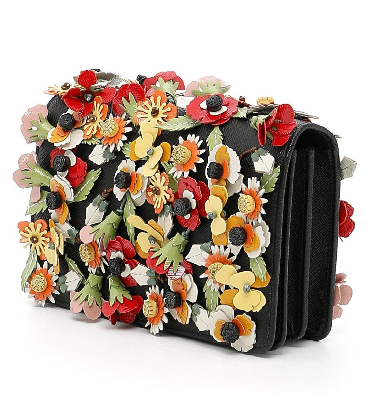 a57402150d15 Amazon.com: Prada Saffiano Garden Floral Applique Misto Designer Crossbody  Bag for Women 1BP006: Clothing
