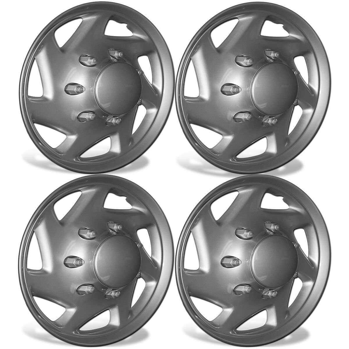 OxGord 16 inch Hubcaps Best for 2007-2014 Ford E-150 - (Set of 4) Wheel Covers 16in Hub Caps Silver Rim Cover - Car Accessories for 16 inch Wheels - Snap On Hubcap, Auto Tire Replacement Exterior Cap
