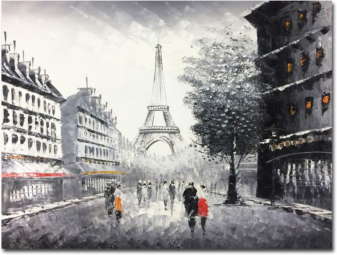 Muzagroo Art Hand Painted Streetscape Paris Eiffel Tower Oil Paintings Wall Canvas Decor (24x32in)