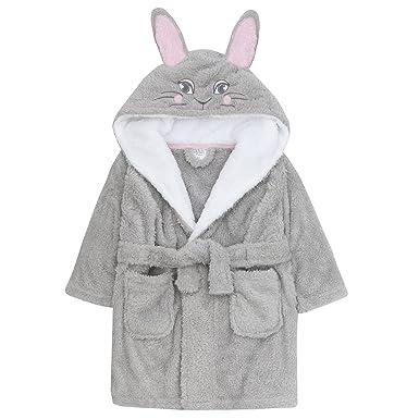 81e3d2e812 Amazon.com: MiniKidz Children's Girls Novelty Bathrobe (Ages 2-6 Years)  Fleece Hooded Bunny Themed Night Gown: Clothing