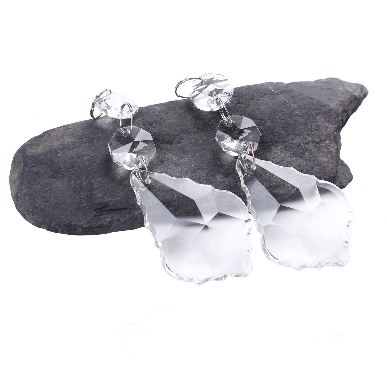 BIHRTC Pack of 12 Clear Crystal Maple Leaf Chandelier Prisms Pendants Hanging Galss Crystal Pendants Beads